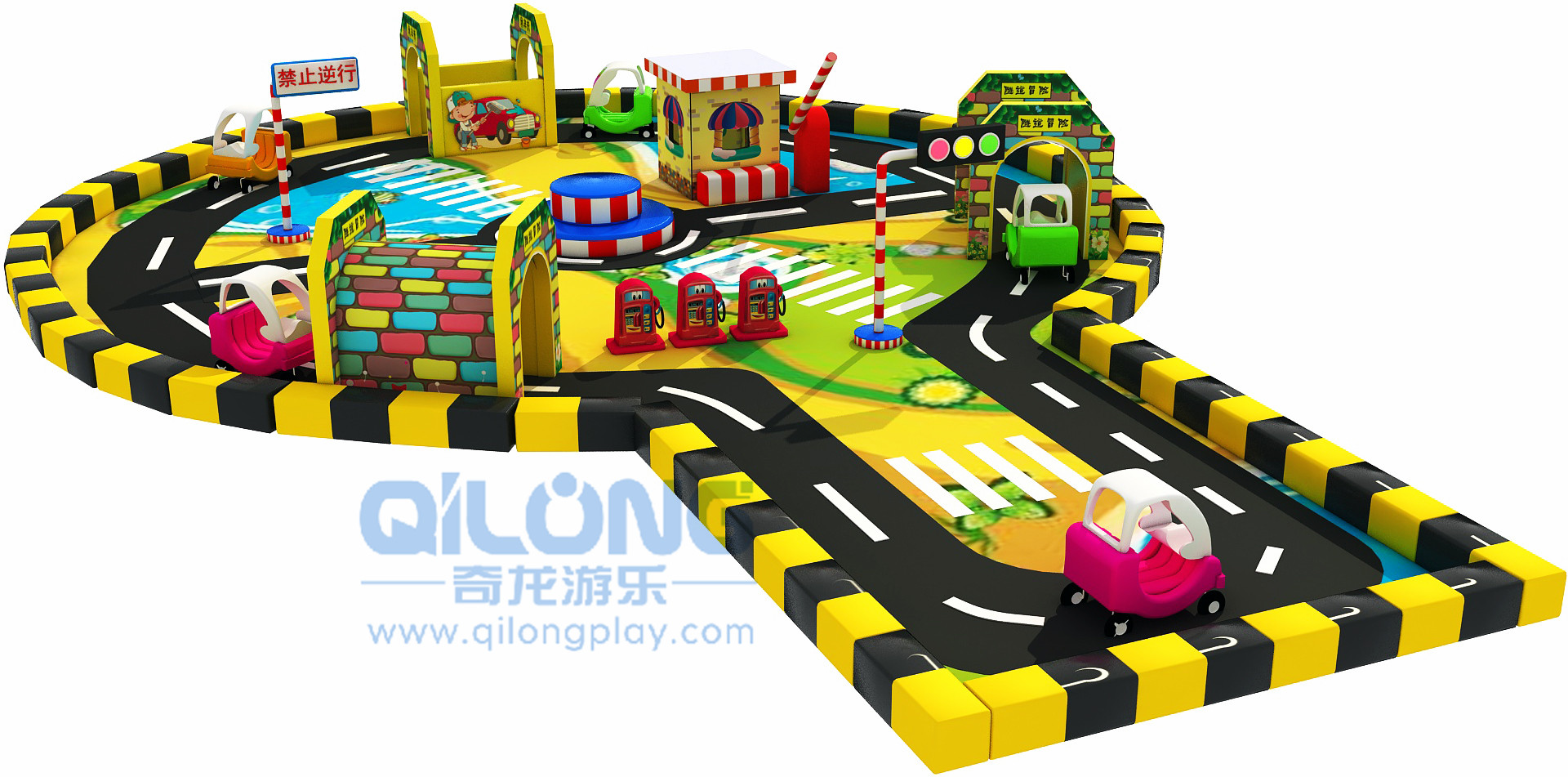 Kids indoor mini traffic town playground-QL-JT005A