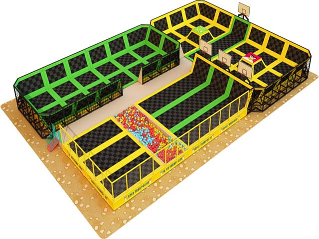 New design ninja course kids indoor trampoline park,bungee jumping trampoline