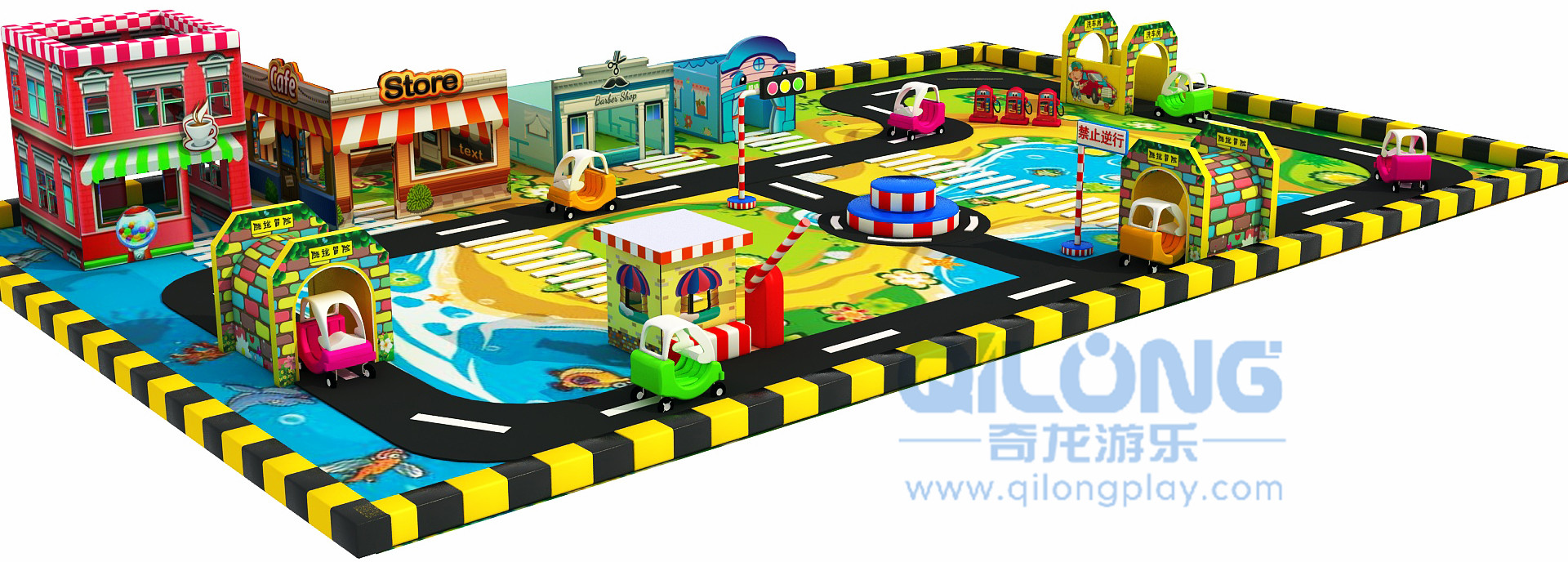 Good quality indoor playground mini traffic town for kids-QL-JT006A