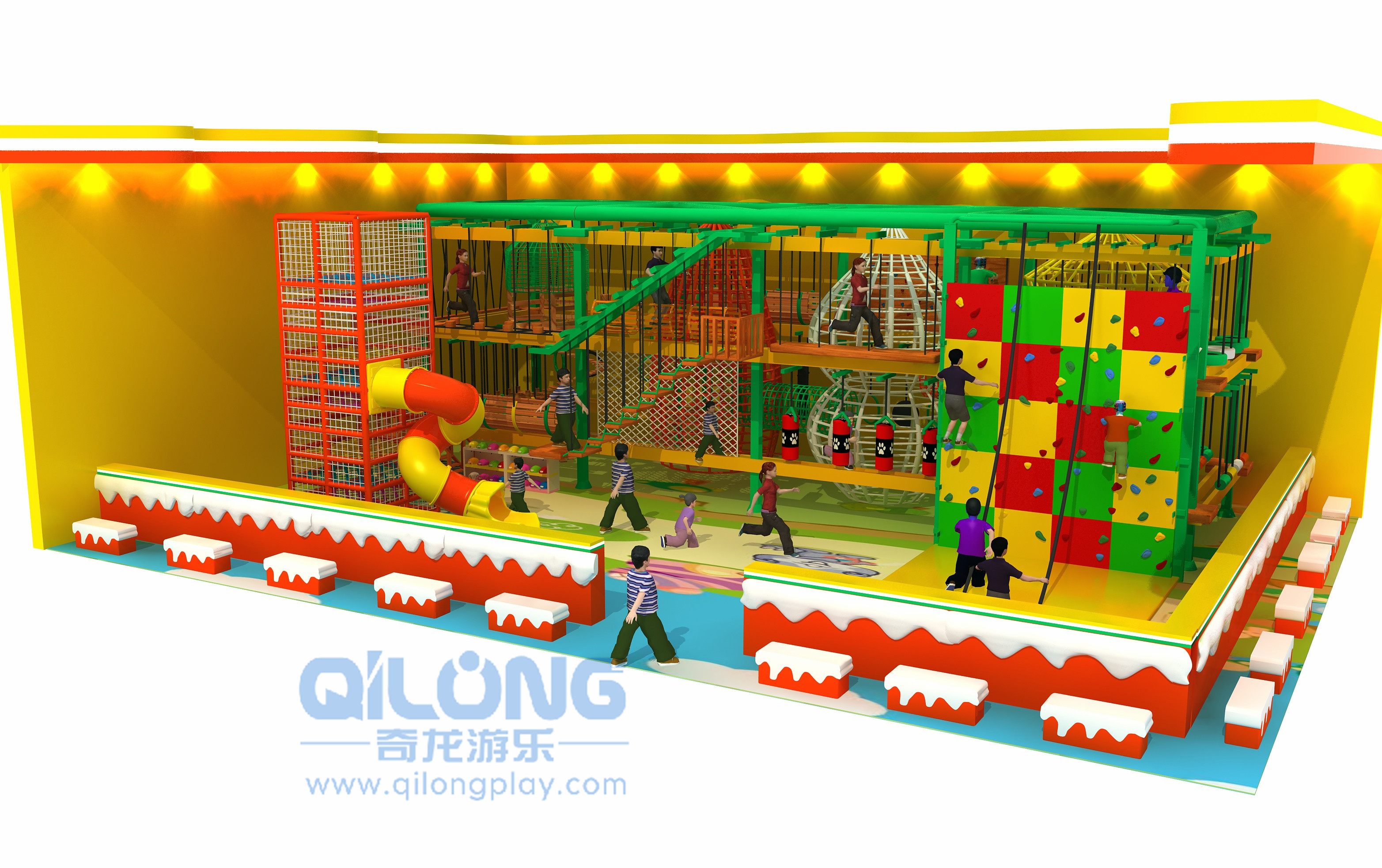 Outdoor kids rope course playground-QL-TZ005A