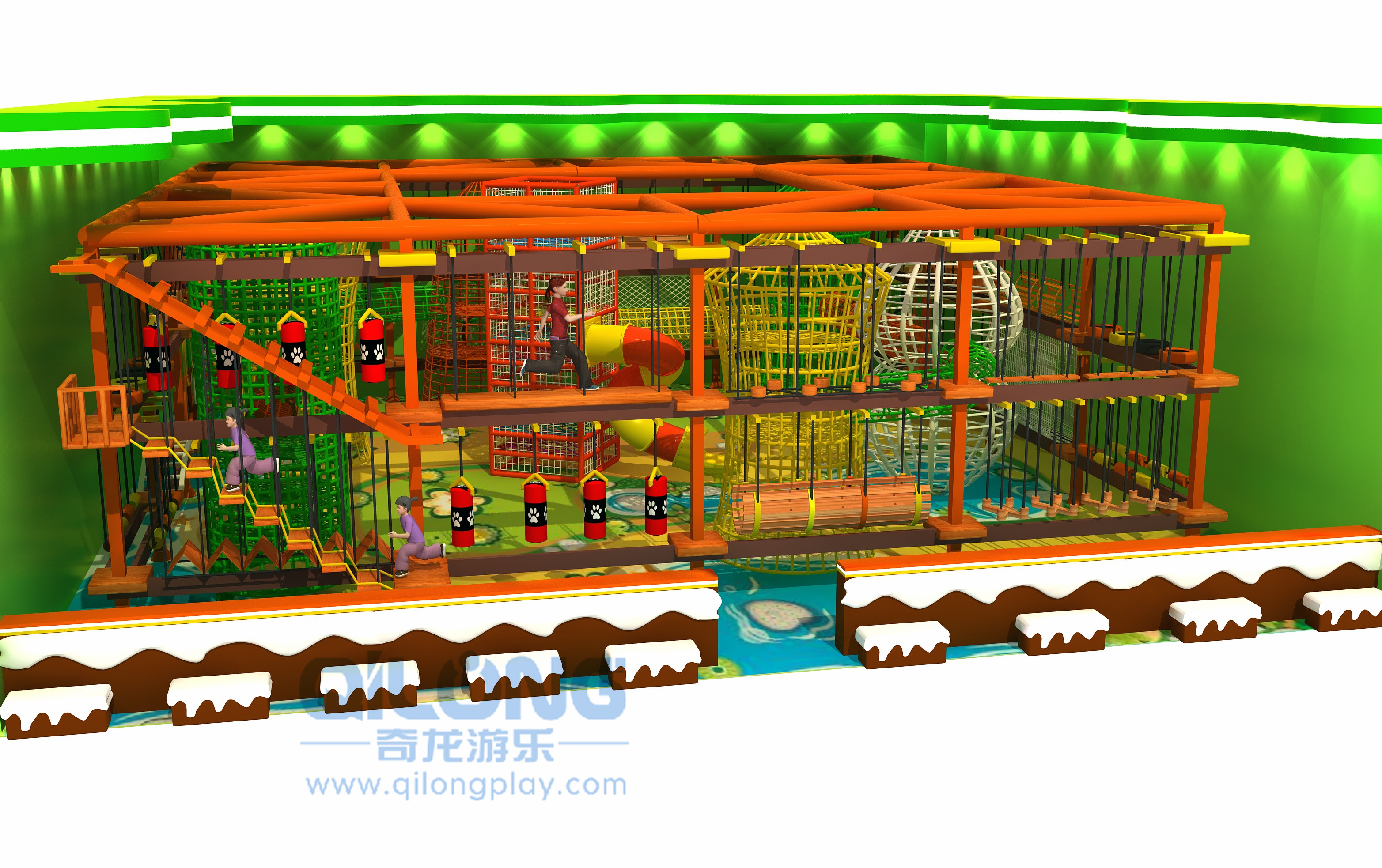 Kids playground rope course outdoor-QL-TZ009A