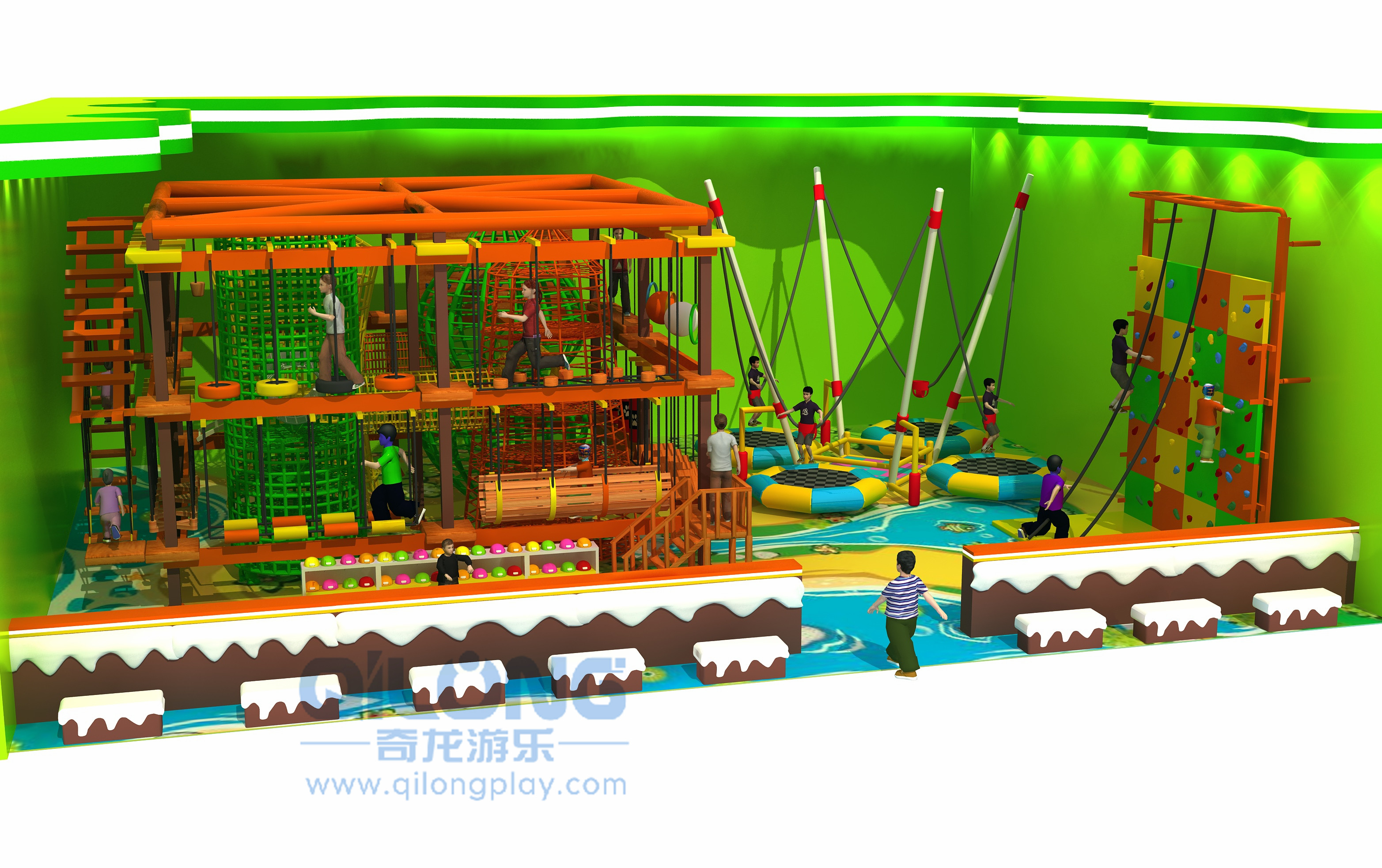 Adventure playground rope course outdoor-QL-TZ010A