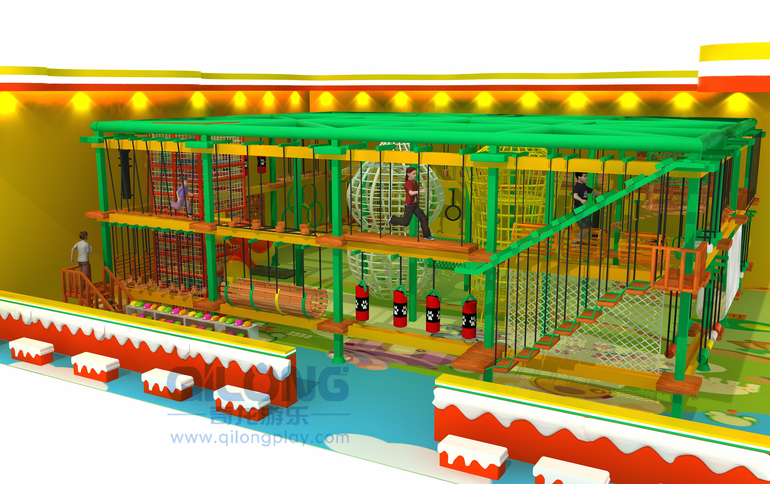 Challenging rope course outdoor playground for kids-QL-TZ017A