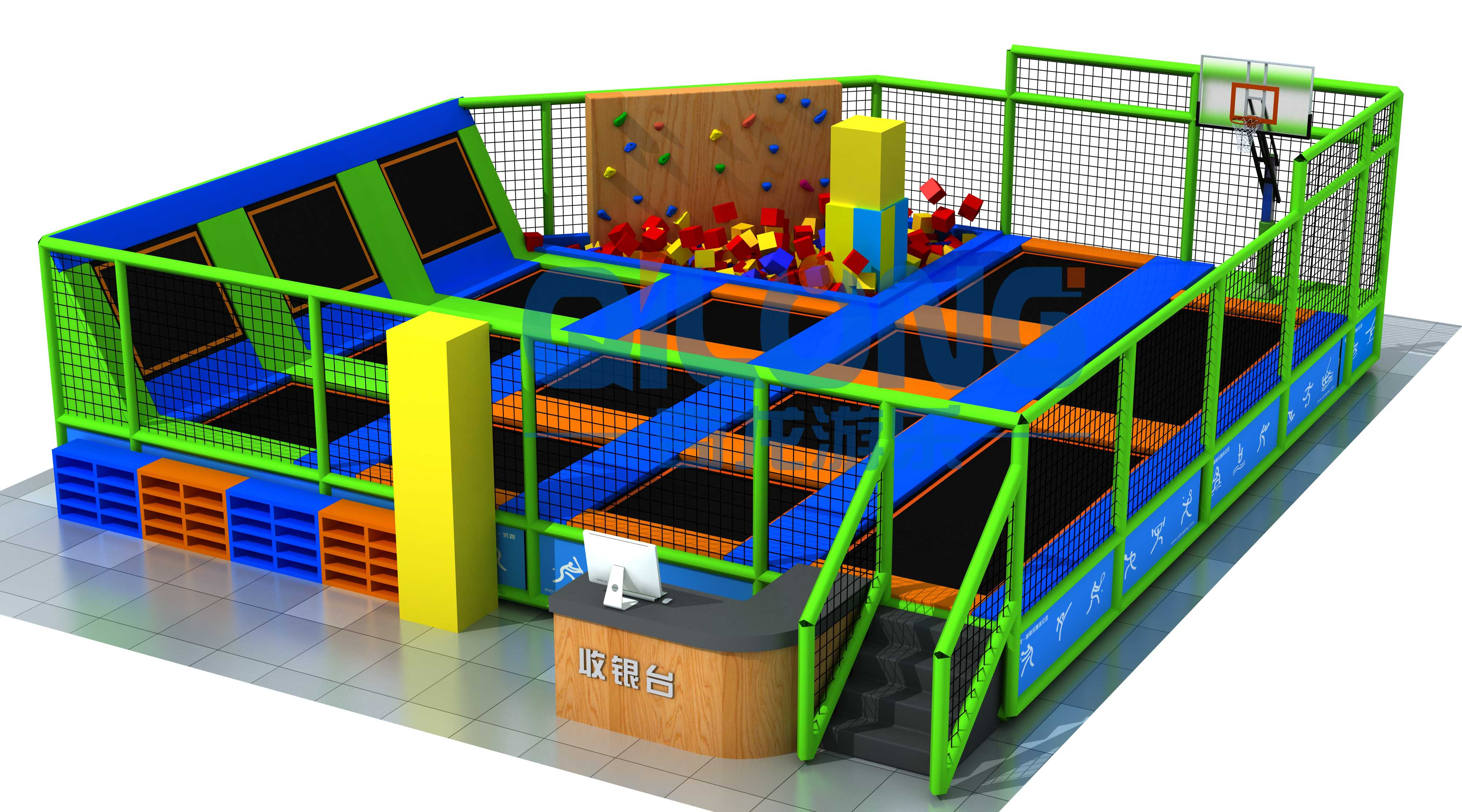 Kid small trampoline park for indoor playground-QL-DBC011A