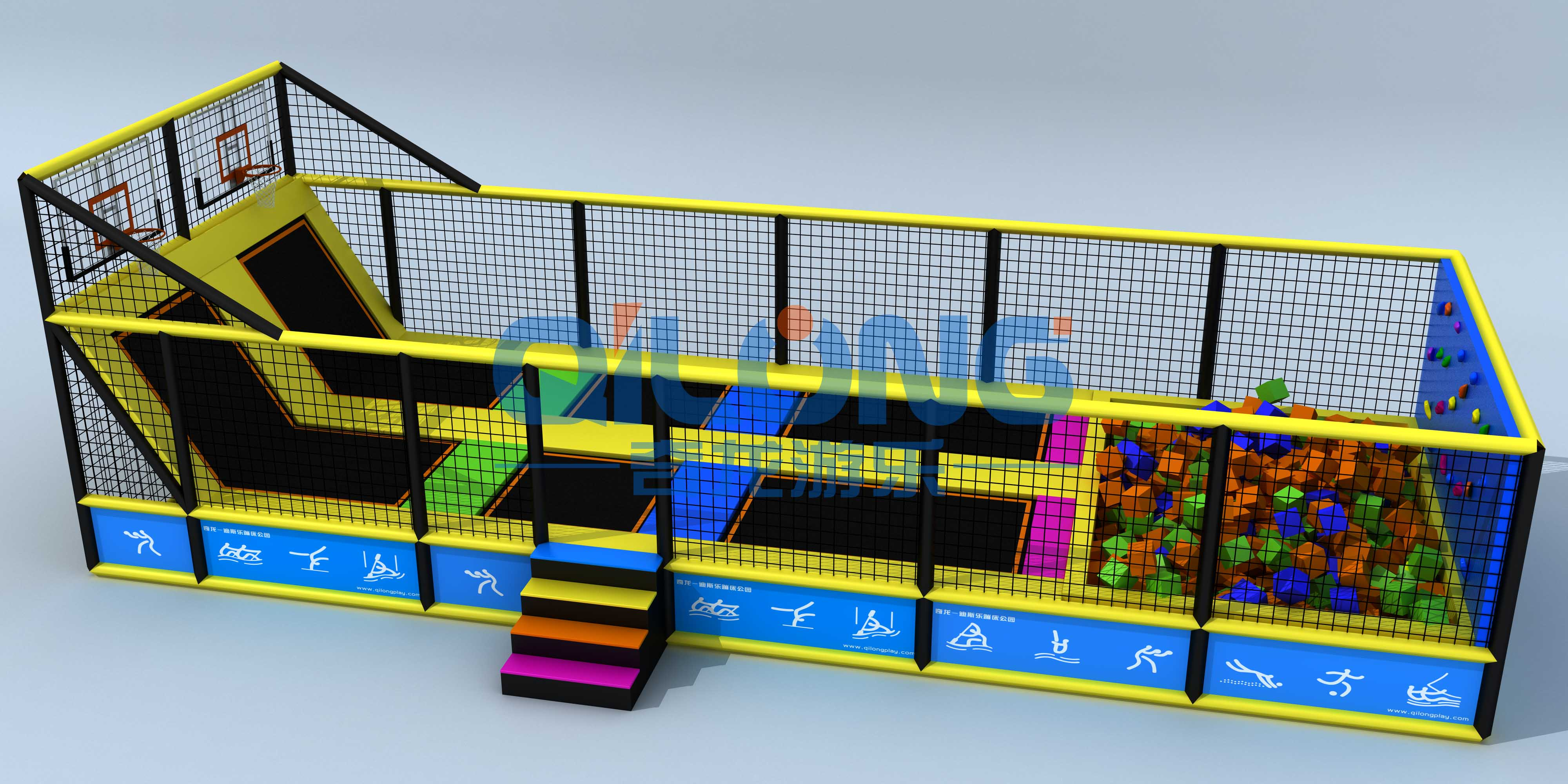 Small jumping bed in kids indoor playground-QL-DBC012A