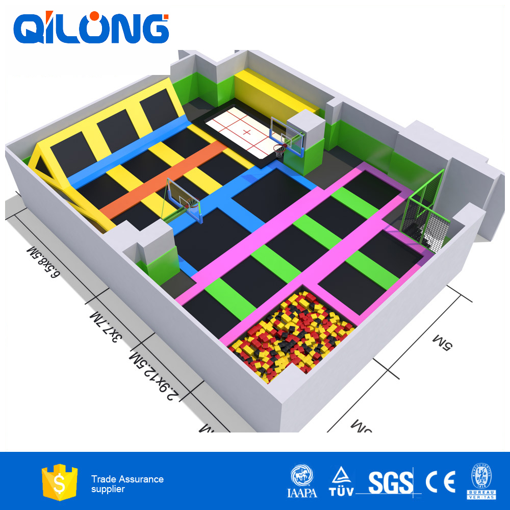 Jumping bed for kids indoor playground-QL-DBC014A