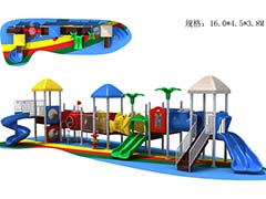 Outdoor playground with plastic slide
