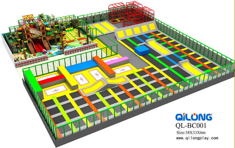 New design ninja course kids indoor trampoline park,bungee jumping trampoline with safety net