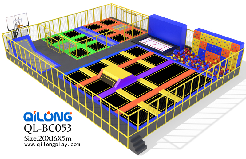 Commercial indoor safe trampoline park with foam pit