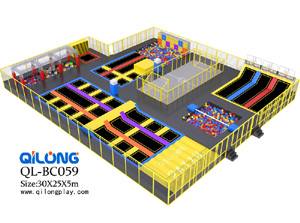 New Design Large Multifunctional Ninja Warrior Course Trampoline Park