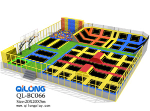 commerical indoor playground trampoline park with foam pit and ninja course