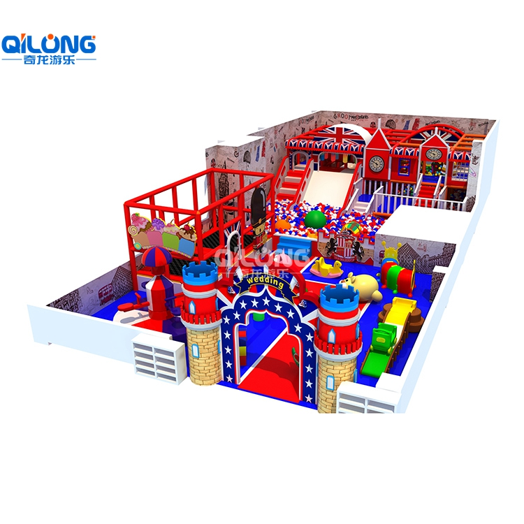 England Theme And Castal Indoor Playground With Red and Blue