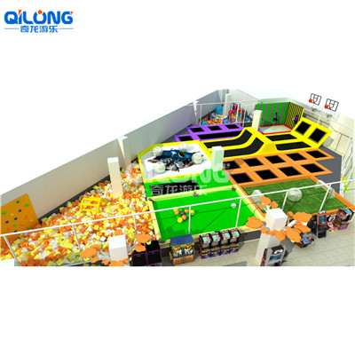 Customized trampoline park with foam pit